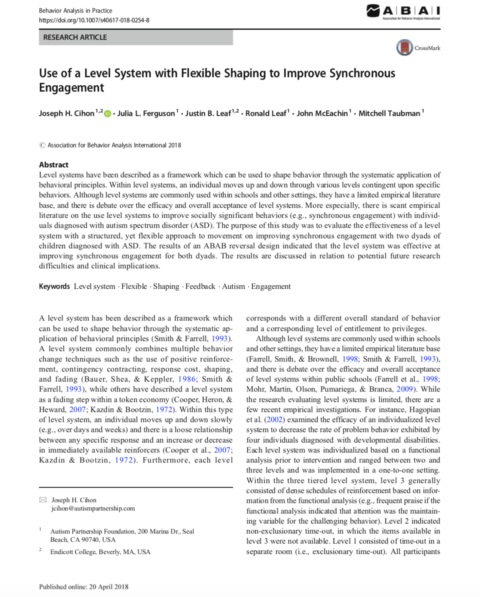 Use of a Level System with Flexible Shaping to Improve Synchronous Engagement