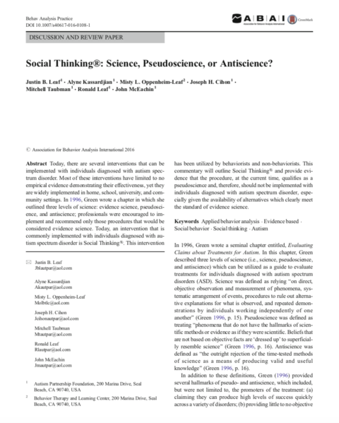 Social Thinking®: Science, Pseudoscience, or Antiscience?