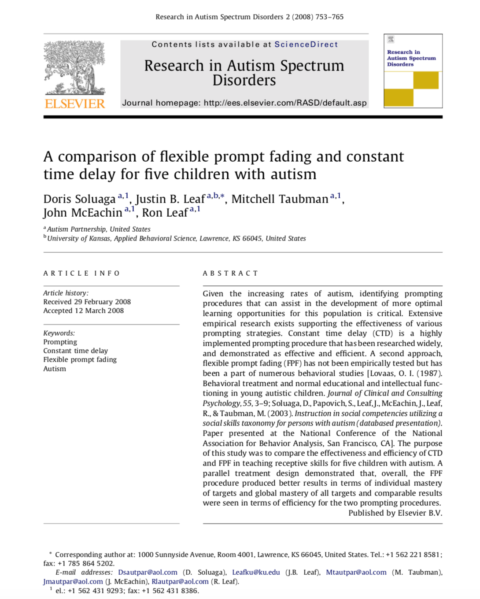 A Comparison of Flexible Prompt Fading and Constant Time Delay for Five Children with Autism