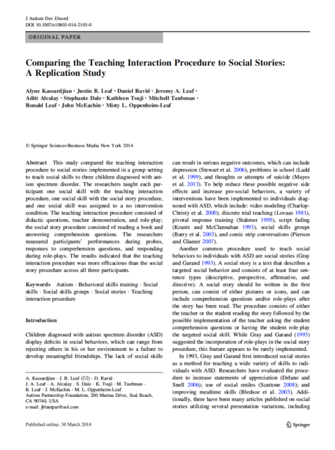 Comparing the Teaching Interaction Procedure to Social Stories: A Replication Study